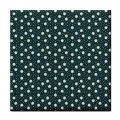 Floral Dots Teal Tile Coasters