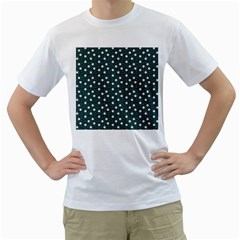 Floral Dots Teal Men s T Shirt (white) (two Sided)