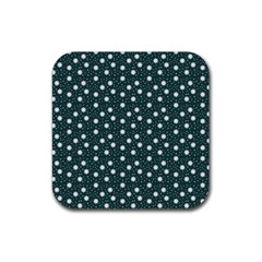 Floral Dots Teal Rubber Coaster (square)