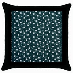 Floral Dots Teal Throw Pillow Case (black)