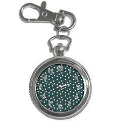 Floral Dots Teal Key Chain Watches