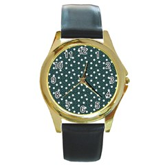 Floral Dots Teal Round Gold Metal Watch