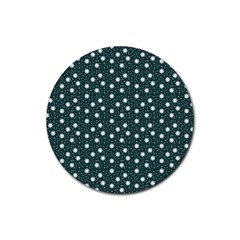 Floral Dots Teal Rubber Coaster (round)