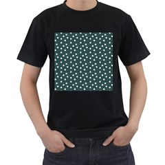 Floral Dots Teal Men s T Shirt (black) (two Sided)