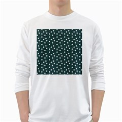 Floral Dots Teal White Long Sleeve T Shirts
