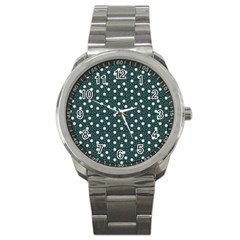 Floral Dots Teal Sport Metal Watch