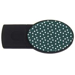 Floral Dots Teal Usb Flash Drive Oval (4 Gb)