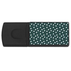 Floral Dots Teal Rectangular Usb Flash Drive