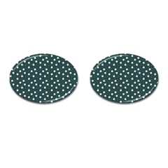 Floral Dots Teal Cufflinks (oval)