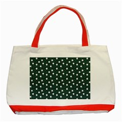 Floral Dots Teal Classic Tote Bag (red)