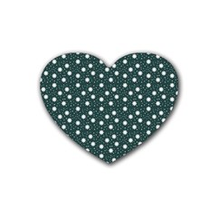 Floral Dots Teal Rubber Coaster (heart)