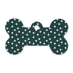 Floral Dots Teal Dog Tag Bone (one Side)