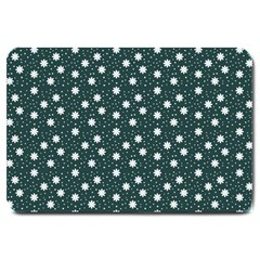 Floral Dots Teal Large Doormat