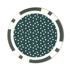 Floral Dots Teal Poker Chip Card Guard (10 Pack)