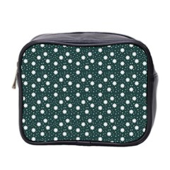 Floral Dots Teal Mini Toiletries Bag 2 Side