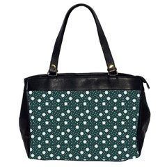 Floral Dots Teal Office Handbags (2 Sides)