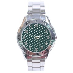 Floral Dots Teal Stainless Steel Analogue Watch