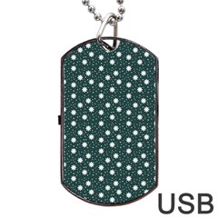 Floral Dots Teal Dog Tag Usb Flash (one Side)