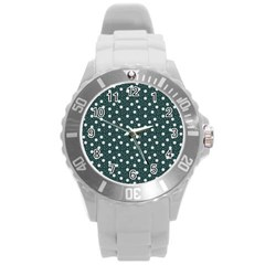 Floral Dots Teal Round Plastic Sport Watch (l)