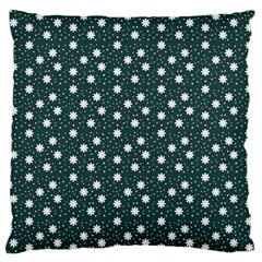 Floral Dots Teal Large Cushion Case (one Side)