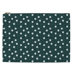 Floral Dots Teal Cosmetic Bag (xxl)