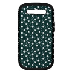 Floral Dots Teal Samsung Galaxy S Iii Hardshell Case (pc+silicone)