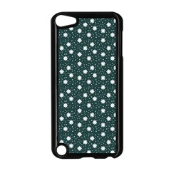 Floral Dots Teal Apple Ipod Touch 5 Case (black)