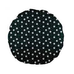 Floral Dots Teal Standard 15  Premium Round Cushions
