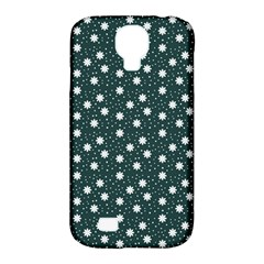 Floral Dots Teal Samsung Galaxy S4 Classic Hardshell Case (pc+silicone)