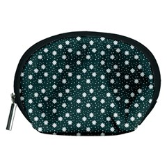 Floral Dots Teal Accessory Pouches (medium)