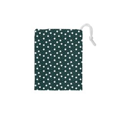 Floral Dots Teal Drawstring Pouches (xs)