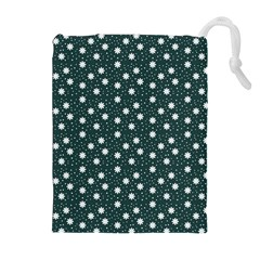 Floral Dots Teal Drawstring Pouches (extra Large)