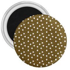 Floral Dots Brown 3  Magnets