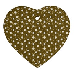 Floral Dots Brown Ornament (heart)