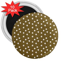 Floral Dots Brown 3  Magnets (10 Pack)