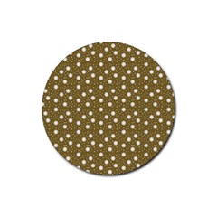 Floral Dots Brown Rubber Round Coaster (4 Pack)