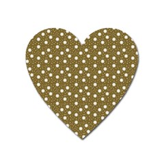 Floral Dots Brown Heart Magnet