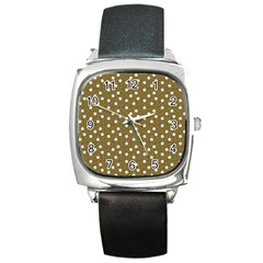Floral Dots Brown Square Metal Watch