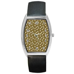 Floral Dots Brown Barrel Style Metal Watch