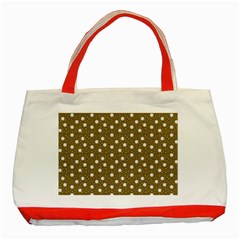 Floral Dots Brown Classic Tote Bag (red)