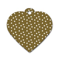Floral Dots Brown Dog Tag Heart (two Sides)