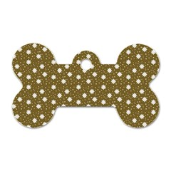 Floral Dots Brown Dog Tag Bone (one Side)