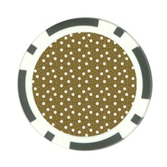 Floral Dots Brown Poker Chip Card Guard