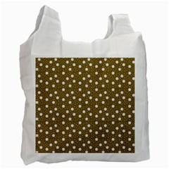 Floral Dots Brown Recycle Bag (one Side)