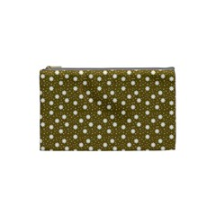 Floral Dots Brown Cosmetic Bag (small)