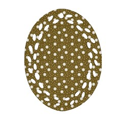 Floral Dots Brown Ornament (oval Filigree)