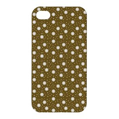 Floral Dots Brown Apple Iphone 4/4s Premium Hardshell Case