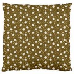 Floral Dots Brown Large Cushion Case (one Side)
