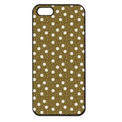 Floral Dots Brown Apple Iphone 5 Seamless Case (black)