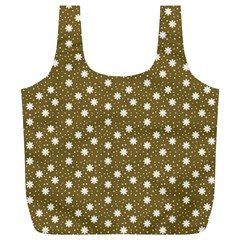 Floral Dots Brown Full Print Recycle Bags (l)